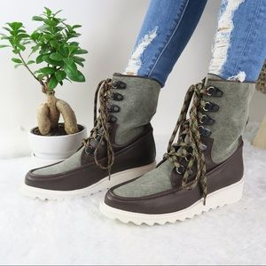 Free People NEW Green Lace-Up Fallon Hiker Boot